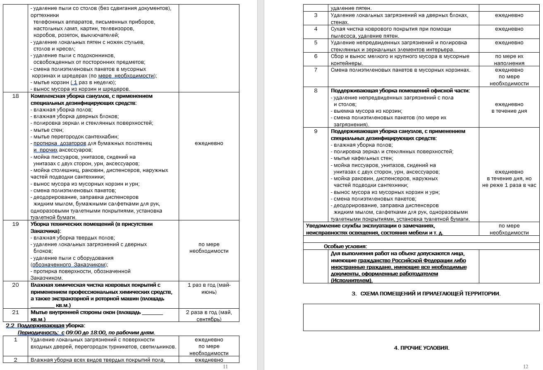 Образец договора на оказание клининговых услуг по уборке помещений